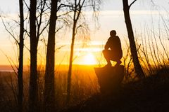 Free Lonely Woman At Sunrise. Solitude Concept, Alone In Forest Stock Images - 144226624