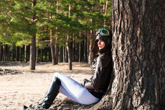 Lonely woman in helmet of the pilot  Royalty Free Stock Images