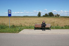 Free Lonely Woman In Bus Stop Stock Images - 28355914