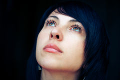 Lonely woman, outdoor portrait Stock Photo