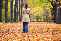 Lonely woman. In a park in autumn Royalty Free Stock Image