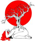 Lonely woman, tree and red sun royalty free illustration