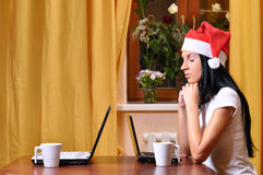 Lonely woman is waiting christmas Stock Images
