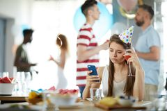 Lonely Womn at Birthday Party stock images