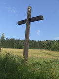 Lonely wooden cross Royalty Free Stock Photos