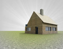 Lonely wooden house or cottage with chimney and sky flare Stock Photography