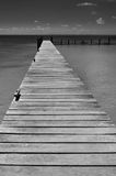 Lonely wooden pier in Caribbean Mexico. Lonely wooden pier Isla Mujeres Mexico Yucatan peninsula Caribbean black and white horizontal version Royalty Free Stock Image