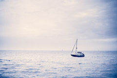Lonely yacht Stock Image