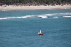 Lonely yacht near the coast of Matakana Stock Images