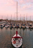 Lonely Yacht port of Barcelona Royalty Free Stock Photo