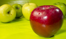 Loner. Red apple up close with other apples behind stock photography