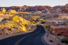 Lonesome road through the Valley of Fire Stock Image