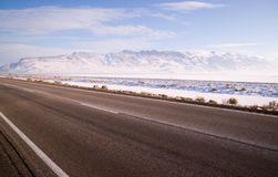 Lonesome Road Winter Freeze Utah Mountain Highway Salt Flats Stock Image