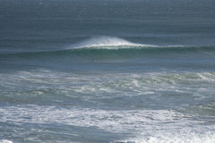 Lonesome surfer paddles to his wave stock photo
