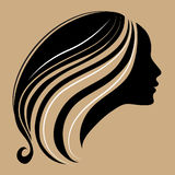 With long. Silhouette of a vintage girl with long beautiful hair Stock Images