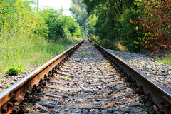 Long abandoned transport railroad without any train. Photo of long abandoned transport railroad without any train royalty free stock photography