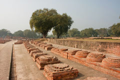 Long alley with brick monuments in archeological site with ruins of Buddhist monastery. SARNATH, INDIA: Long alley with brick monuments in archeological site royalty free stock photos