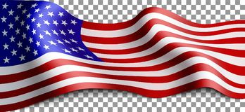 Long american flag. On transparent background. Flag for patriotic holidays. Labor day, Independence day, Memorial day. Vector illustration royalty free illustration