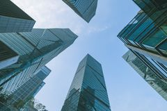 Long Angle View of High Rise Glass Buildings Stock Photography