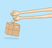 Long arms delivering a mailing box vector illustration