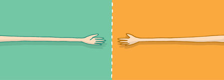 Long arms in negotiation on a handshake. Cartoon illustration of different positions on a negotiation meeting a fair half Royalty Free Stock Photography