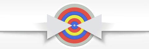 Long arrows pointing at target. Digital composite of Long arrows pointing at target Royalty Free Stock Photo