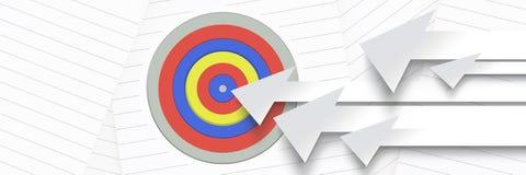 Long arrows pointing at target. Digital composite of Long arrows pointing at target Royalty Free Stock Image