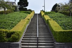 The long ascent of the Lyon Street Steps, 5. Many of San Francisco`s steps have very beautiful mosaics added to the steps which add to the enjoyment of royalty free stock image