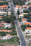 Long avenue. With houses on either side Royalty Free Stock Photos