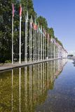 Long avenue of flags from various countries of the World Stock Photos