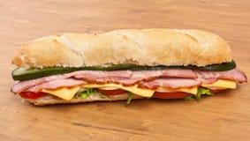 Long Baguette Ham Sandwich Royalty Free Stock Image