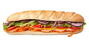 Long baguette sandwich Royalty Free Stock Photography