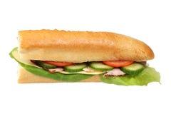 Long baguette sandwich Royalty Free Stock Images