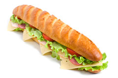 Long baguette sandwich Stock Photos