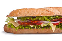 Long baguette sandwich with meat Stock Photo