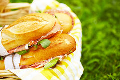 Long baguette sandwiches in basket. Long baguette sandwiches with salami, prosciutto and arugula for picnic Stock Photos