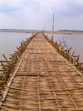 Long bamboo bridge from Kampong. Cham to island  Koh Paen in Cambodia Royalty Free Stock Photos