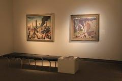 Long banc pour que les visiteurs reposent dessus tout en étudiant des peintures, Art Gallery commémoratif, Rochester, New York, 2 images stock