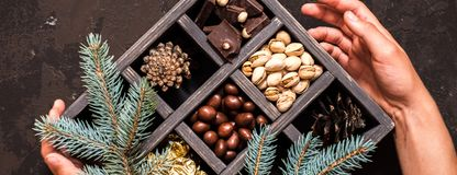 Decorative wooden box with hazelnuts,mandarins and gifts. royalty free stock photos
