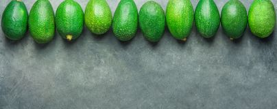 Long Banner Header. Bunch of Ripe Raw Avocados Arranged in Upper Border on Dark Stone Background. Top View Copy Space. Healthy royalty free stock photography