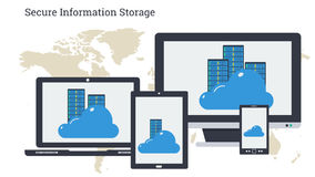 Long banner - Secure Information Storage. Vector illustration. Secure online cloud storage and server on monitors of varios computers. Safe using of data or Stock Photography
