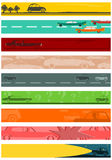 Long banners background set with car motifs. Stock Image