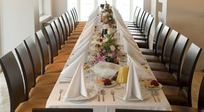 Long banquet T table stock photo