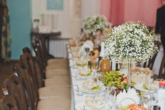 A long Banquet table covered with dishes 9269. Long Banquet tables are served on the occasion Royalty Free Stock Photos