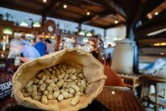 Long Bar, Singapore - 3 November 2016: Sack of peanuts at Raffles hotel