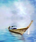 Long bateau suivi Photographie stock