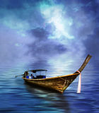 Long bateau suivi photos stock