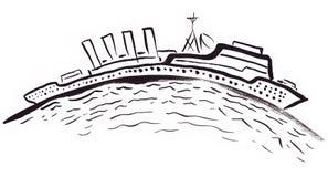 Long bateau sur l'horizon incurvé Photographie stock libre de droits