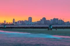 Long Beach aftonrodnad Royaltyfri Bild