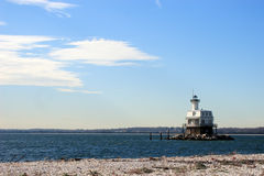 Long Beach Bar Lighthouse. Constructed in 1870 is located  Off the western tip of Orient Beach State Park, Orient, Long Island, New York Royalty Free Stock Photography